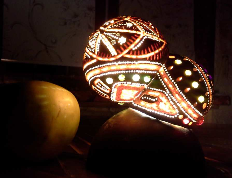 Irida. Lamp made of pumpkin. Author's work